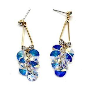 Elegant bunches swarovski crystal earrings